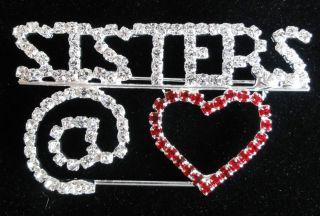Red Hat Hi Society Sisters Heart Rhinestone Pin