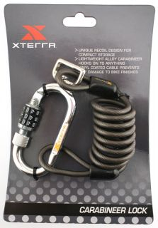 Xterra Carabineer Combination Lock Bike Cable 6mm New