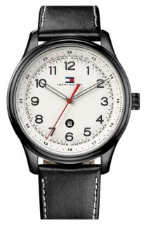 Tommy Hilfiger Round Dial Leather Strap Watch