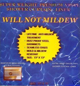 Will not Mildew 54x78 Clear Vinyl Shower Curtain Stall