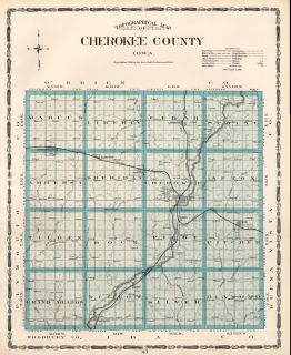 Cherokee County Iowa Map Authentic 1904 Dated w Towns TWPS RRs