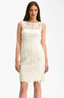 Adrianna Papell Illusion Neck Lace Sheath Dress