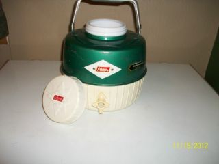 Vintage Coleman Snow Lite Water Jug Cooler Green White Diamond Loga