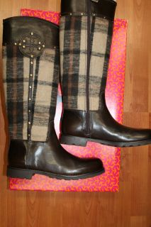 Burch Colleen Riding Boot Plaid Logo Brown Tall Flats Boots Shoes 10 M