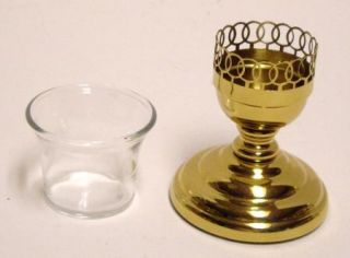 Craft USA Gold Color Metal & Plastic With Glass Votive Candle Holder