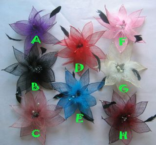 Girls Women Hair Bow Clips Feather Flower Brooch Hairpin Party Wedding