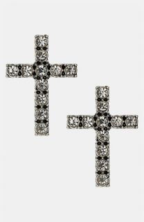 Topshop Pretty Rhinestone Cross Earrings