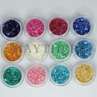 12 Colors Crushed Shell Powder Nail Art UV Gel Acrylic