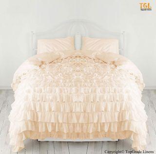 Peach Color Waterfall Ruffle Duvet Cover Egyptian Cotton 1000TC Full