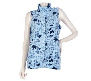 Denim & Co. Zip Front Leaf Print Fleece Vest —