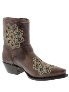 Womens Ladies Brown Leather Short Ankle Cowboy Boots Western Riding