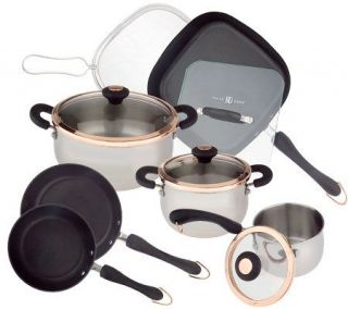 Paula Deen 11 piece Stainless Steel & Copper Cookware Set —