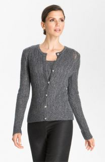 St. John Collection Lacy Cable Knit Cardigan