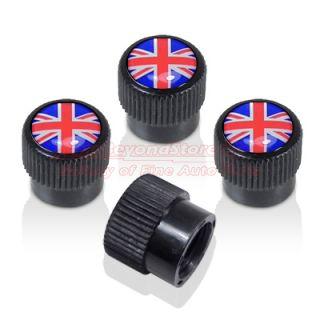 Union Jack Black ABS Colored Tire Stem Valve Caps for MINI Cooper