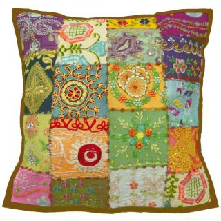 Patchwork Pillow Case Multi colored Floral Handmade Cushion Cover