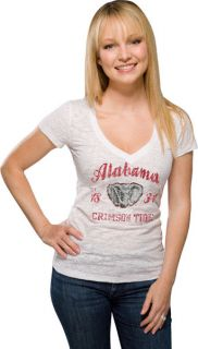 Alabama Crimson Tide Womens White Burnout V Neck T Shirt