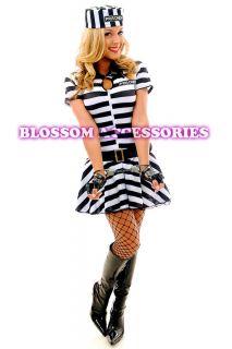 F80 Ladies Prisoner Jail Bird Convict Outfit Fancy Dress Halloween