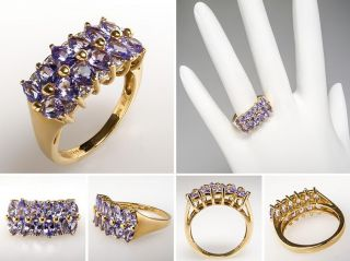 Natural Iolite Genuine Diamond Cluster Ring Solid 14k Gold Fine Estate