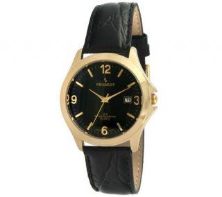 Peugeot Mens Goldtone Black Leather Strap Watch   J298014