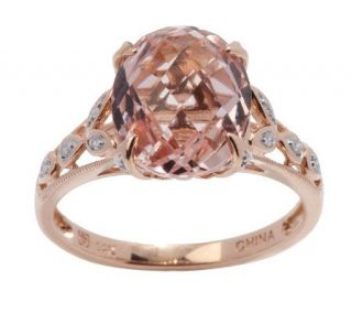 00 ct Morganite & Diamond Accent 14K Rose Gold Ring —