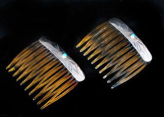Silver Turquoise HAIR COMBS Sweet Size ETCHED DECORATION Vintage