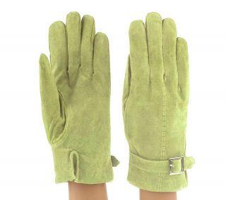 ComforTemp Washable Suede Ladies Gloves w/Silvertone Buckle