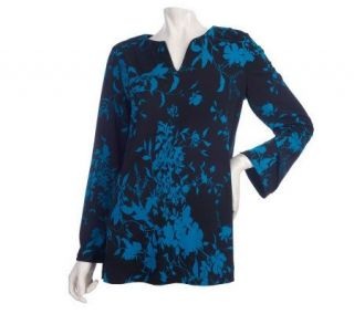 EffortlessStyle by Citiknits Long Sleeve Split Neck Print Tunic