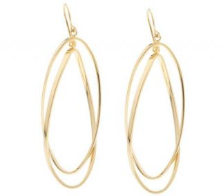 Savor 14K Gold Bonded Elongated Double Oval Hoop Earrings —