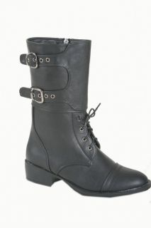 Italina Command Mid Calf Combat Boots Oxford Toe Overlapping Cover