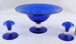 Antique Pairpoint Cobalt Blown Glass Candlesticks Bowl