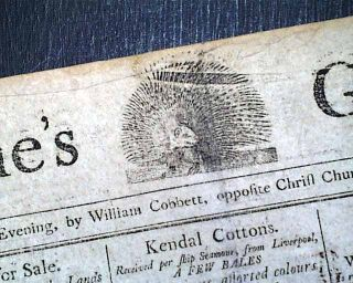 PORCUPINES GAZETTE Philadelphia PA 1798 Newspaper William Cobbett