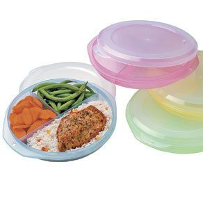Divided Storage Plates Set of 4 Lids Food Healthy Cooking Kitchen