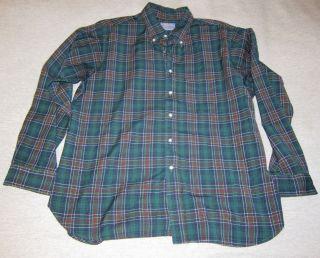 Pendleton Button Down Wool Shirt Green Cockburn Tartan Size XL