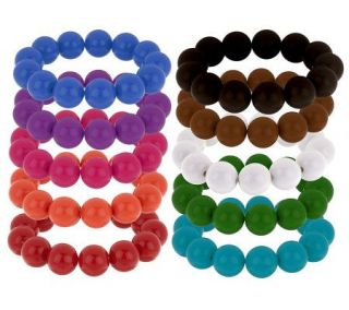 Set of 10 Colors of the Season 16mm Stretch Bead Bracelets —