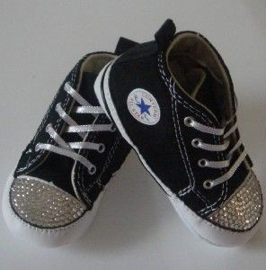 Black Baby Convers Featuring Clear Swarovski Cystals Toddler Kids