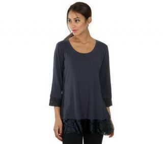 LOGO by Lori Goldstein Scoop Neck Tee with Lace Trim —