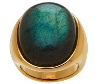 Bold Oval Labradorite Ring 14K Gold —