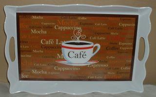 Coffee Cup Serving Tray Platter Cafe Latte Bistro Mocha Java Kitchen