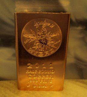 Legalize It Hydro 420 1 2 Pound 999 Fine Copper Bullion Art Bar