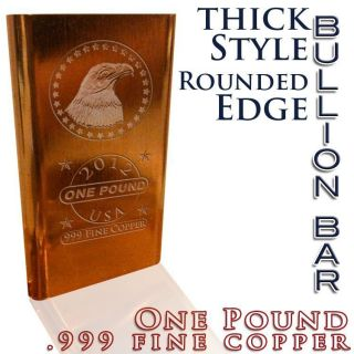 Pound lb Copper Bullion Bar 2012 Eagle with Stars 16 oz 999 Copper