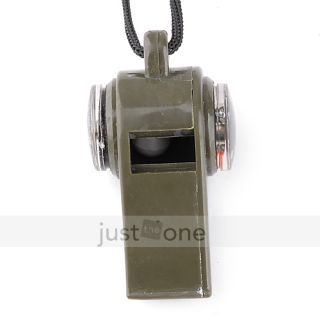 Outdoor Camping Hiking Emergency Survival Whistle Thermometer Compass
