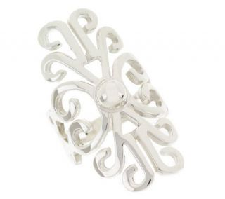 Artisan Crafted Sterling Bold Scroll Design Ring —