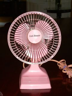 Mid Century Electric Cool Breeze Oscillating Pink Desk Fan Clean 2