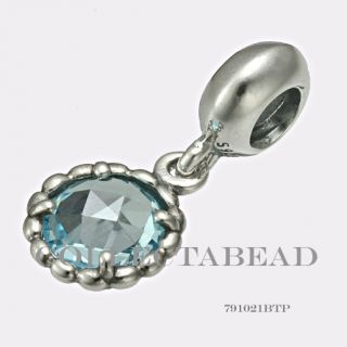 Authentic Pandora Silver Dangle Cool Breeze Blue Topaz Bead