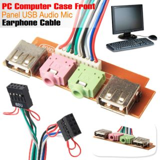 PC Computer Case Front Panel USB Audio Mic Earphone Cable