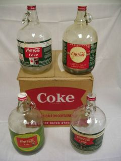 SET OF 4 SODA FOUNTAIN COCA COLA SYRUP JUG BOTTLES W BOX ALL DIFFERENT