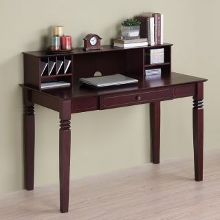 Solid Wood Computer Desk With Hutch in Walnut Brown