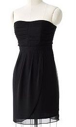 NWT Lauren Conrad Lightweight Black Chiffon Lined Strapless Dress See
