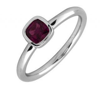 Simply Stacks Sterling & Cushion Cut RhodoliteGarnet Ring   J299431