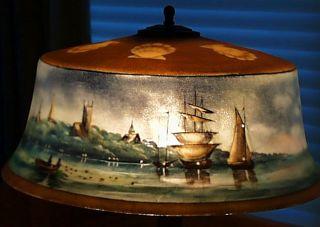 Original Pairpoint New Bedford Harbor Scene Reverse Painted Lamp Base